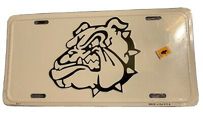 New White/Black Bulldog Metal License Plate Car Tag
