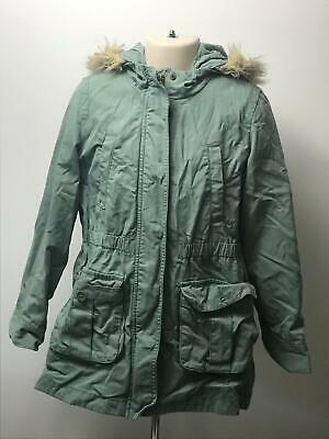 Girls Gap Kids Green Hooded Parka Removable Lining Coat Jacket Kids Age 8-9 Yrs
