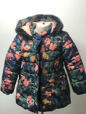 Girls M&S Blue & Pink Floral Hooded Quilted Padded Coat Jacket Kids Age 3-4 Yrs