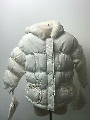 Bnwt Girls George White Hooded Padded Quilted Coat Jacket Kids Age 2-3 Years