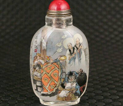 Chinese old glass Hand inside painted Journey to the West snuff bottle