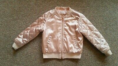 H & M Girls 4-5T Satin Quilted Jacket Pale Pink Gold Zipper