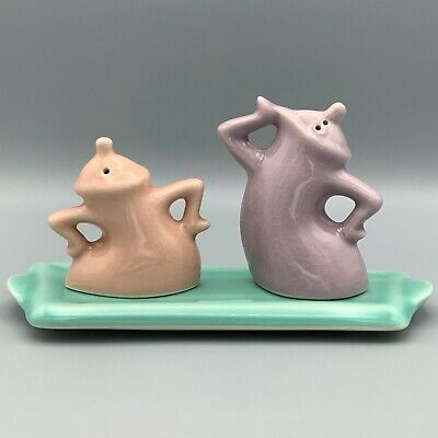 """Jump & Jive"" Signed Michael Lambert Art Pottery Salt & Pepper Shakers with Tray"