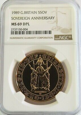 1989 GOLD GREAT BRITAIN 5 POUNDS 500th ANNIVERSARY COIN NGC MINT STATE 69 DPL