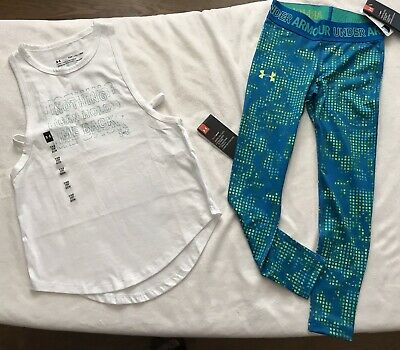 Bundle UNDER ARMOUR Girls' UA HeatGear Tank Top & Printed Leggings Outfit - XS