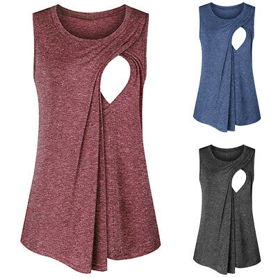 Women's Round Necked Nursing T-shirts Maternity Breast Feeding Clothing