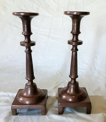 Pair of Antique Russian Brass Candlesticks Early 18th Century