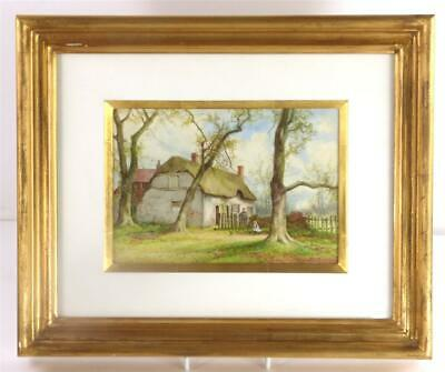 Hand Painted English Porcelain Plaque Signed H Wallace Thatched Cottage
