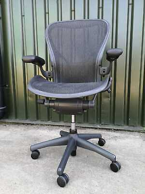 "Herman Miller Aeron fully loaded size ""B"" Chair in Graphite Grey Finnish"