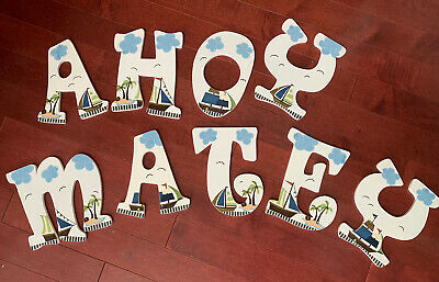 Baby Nursery Wall Wood Name Letters Pirate Theme Phrase Ahoy Matey