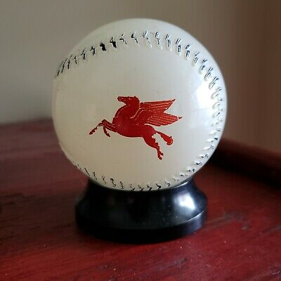 Vtg. 1950's Mobile Gas & Detroit Tigers GLASS BASEBALL BANK Pegasus Advertising