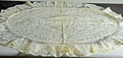 Antique Handmade Normandy Lace Oval Pillow Cover Sham VV357