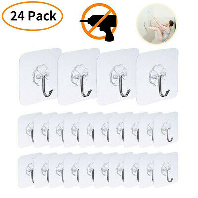 24 PACK Adhesive Utility Hooks Heavy Duty Wall Transparent Reusable Waterproof