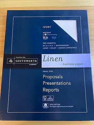 Southworth Ivory Linen Paper 25% Cotton Fiber 80 Sheets 24 lb NEW