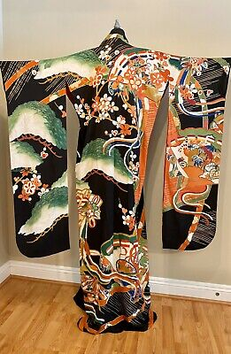 Antique VTG Silk Hand Painted Japanese Kimono Robe Furoside Wedding Embroidered