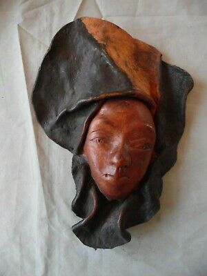 Hand Sculptured Leather Face Mask Unknown Artist, Wall Hanging African