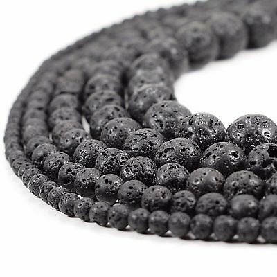 "Natural Black Lava Beads Round Volcanic Rock Gemstone 15"" 4 6 8 10 12 14mm Lot"