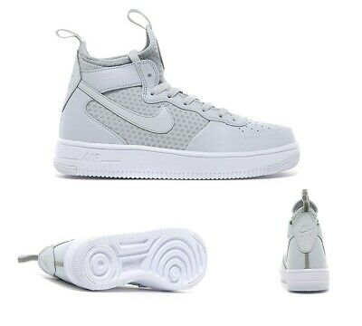NIKE AIR FORCE 1 Mid White Leather Basketball Trainers