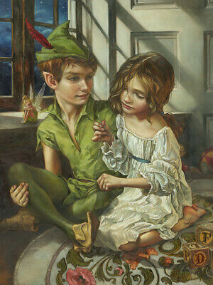 Peter Pan Disney Fine Art SEWN TO HIS SHADOW by Heather Edwards Giclée on Canvas