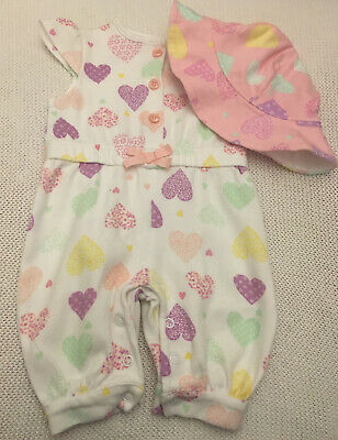 Baby Girl Newborn Romper Outfit & Matching Sun Hat From Nutmeg 100% Cotton
