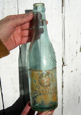 Antique Blue Glass Langs Beer Bottle With Partial Label / Buffalo Ny / German