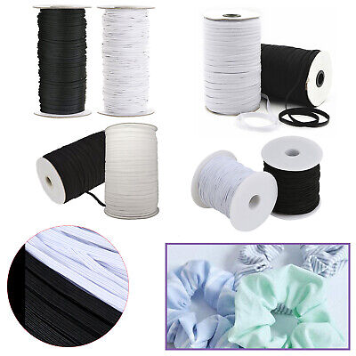 Black White Flat Round Elastic Bungee Rope Shock String Stretchable Cord Crafts