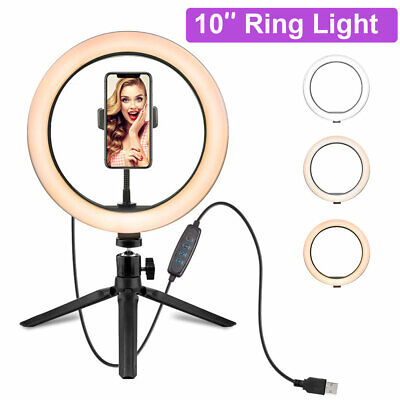 10'' LED Studio Ring Light Photo Video Lamp Light Dimmable+Tripod+Phone Holder