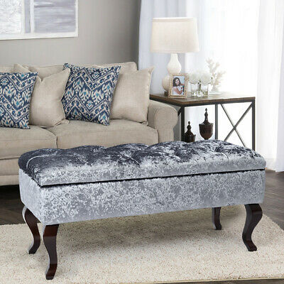 Crushed Velvet Footstool Living Room Storage Ottoman Stool Wood Legs Shoes Bench
