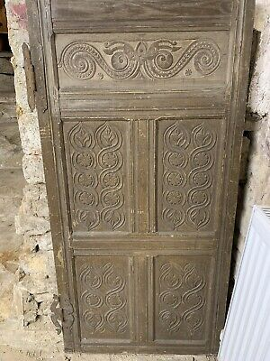 16th/17th CENTURY OAK PANELLED DOOR SECTION CARVED PANELS TWO  'H' Hinges