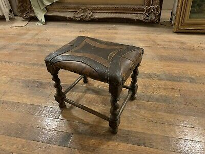Arts And Crafts Mission English Handmade Oak And Leather Foot Stool, Early 20thC