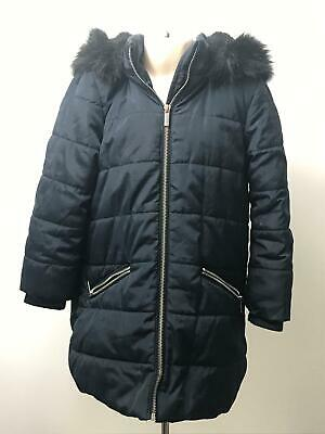 Girls Tu Navy Blue Padded Quilted Hooded Warm Coat Jacket Kids Age 5-6 Yrs