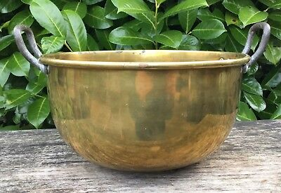 Old Vintage Antique Brass Iron Side Handle Chefs Kitchen Mixing Bowl