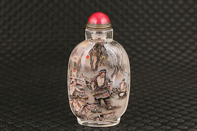 antique chinese old glass hand painting Water Margin dongguo snuff bottle