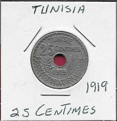 Tunisia French Protectorate 25 Centimes 1919 Hole In Center Of Inscription,Legen