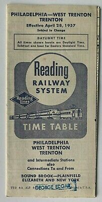 Vintage 1957 Reading Railway Lines Railroad Timetable Philadelphia Trenton NJ RR