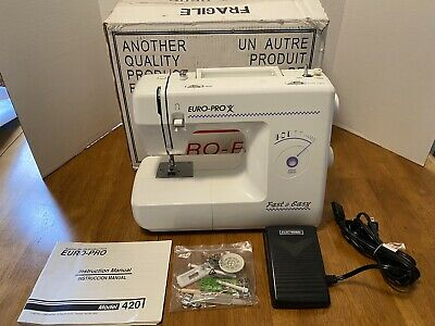 Euro-Pro Sewing Machine Model 420 Accessories & Manual NEW Mint in Box