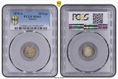 Greece King George A,20 Lepta 1874 PCGS MS64 Colorful Toning.