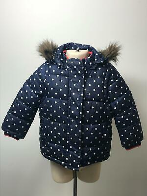 Girls Mini Boden Blue & White Hooded Quilted Padded Coat Jacket Kids Age 1 Yrs