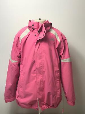 Girls The North Face Pink & White Detachable Hood Coat Jacket Kids Age 18 Years