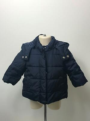 Girls Baby Gap Navy Hooded Padded Quilted Coat Jacket Kids Age 12-18 Months