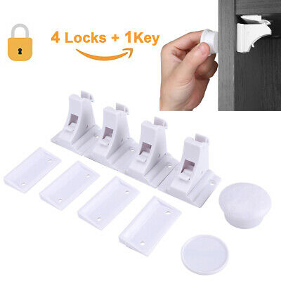 4 Magnetic Safety Invisible Cupboard Lock Baby Child Pet Proof Drawer Security