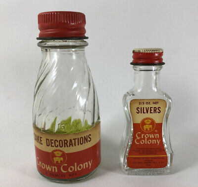 Vintage Crown Colony Sprinkles Cake Decorations Silvers Glass Bottle Advertising