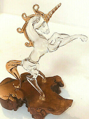Unicorn Hand Blown Glass Crystal Figurine 24k Gold Trimmed On A Burl Wood Base