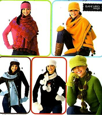 HATS, GLOVES, MITTENS, HEADBANDS & SCARVES WINTER SEWING PATTERN Simplicity 3942