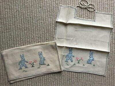 NWT Antique Baby Bib in Pouch - Embroidered Bunnies Industrie Femminili Italiane