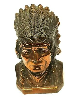 Bronzed Metal Native American Indian Chief Vintage Coin Bank