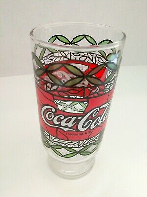 Vintage 1970's Enjoy Coca Cola Coke Drinking Tiffany Style Stained Glass 12 oz