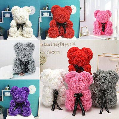 Rose Bear Foam Flower Lovely Teddy Christmas Valentine Birthday  Gift 25/40cm
