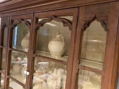 Victorian Pitch Pine House Keepers Cupboard Glazed Gothic Carved Wooden Doors