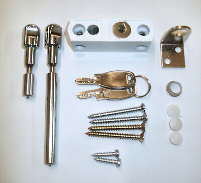 Locking Window/Door Bolt Sliding for sliding doors White door Lock+2 Keys J17020